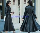 Womens Single Breasted Full Length Belt Slim Fit Long Leather Trench Coat Jacket