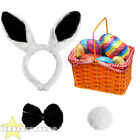 BLACK EASTER BUNNY RABBIT SET RED BASKET EGG HUNT FANCY DRESS ACCESSORY UNISEX