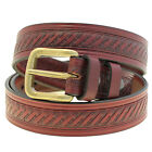 Men 1 3/8 Burgundy Latigo Leather Domed Embossed Belt With Double Loops