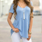 Summer Women's Lady Loose Pullover T Shirt Short Sleeve Casual Tops Blouse Blue