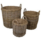 KUBU RATTAN ROUND FIRESIDE LOG AND KINDLING BASKETS - Choice of sizes available