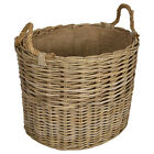 KUBU OVAL RATTAN WICKER LOG BASKETS WITH ROPE HANDLES- Choice of Sizes Available
