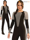 Ladies Jumpsuit Adults Black  Fancy Dress Costume Outfit Film Warrior Futuristic