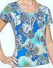 NEW Kim Rogers Womens Fleur Printed Design Crew Neck Everday Shirt Top Sz S L
