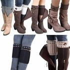 Women Winter Leg Warmers Button Knitted Short Cuffs Toppers Boot Cover Socks US