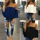 New Fashion Women Summer Chiffon Blouse Off Shoulder Loose Casual T Shirt Tops