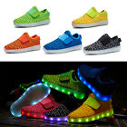NEW Childs Kids Luminous Shoes LED Light High Top Lace Up Unisex Sneaker