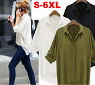 Women Summer Vest Top Long Sleeve Chiffon Blouse Casual Tops T-Shirt Size S-6XL