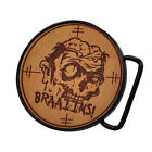 Buckle Rage Adult Unisex Zombie Brains Target Etched Real Wood Round Belt Buckle