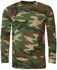 Men's Woodland Camouflage Camo Long Sleeve T Shirt Top Hunting Fishing