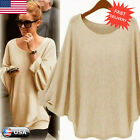 Women Ladies Oversized Batwing Sweater Pullover Knitted Jumper Baggy Tops Blouse