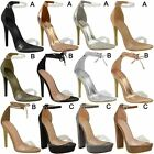 New Womens Ladies High Heel Perspex Ankle Strappy Celeb Sandals Shoes Size 3-8
