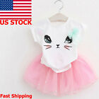 Kids Toddler Baby Girl Outfits T-Shirt Tops Tutu Skirt Dress Clothes 2PCS Set US