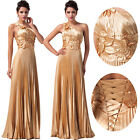 Golden Satin Evening Gown Bridesmaid Dress Prom Formal Party Ball Gown Dresses