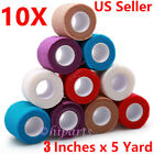 10pcs Self Adhesive Bandage Rolls Strong Elastic Adherent Tape First Aid Wrap фото