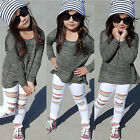 Toddler Kids Baby Girls Outfit T-shirt Tops Tee+Long Pants Suit Clothes 2PCS Set