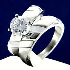 Engagement Ring Womens Simulated Diamond Stainless Steel Bridal Wedding Band Set