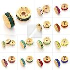 20pc Crystal Beads Straight Spacer Gold Plated Jewelry Making 5/6/8/10/12mm BW