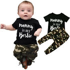 Toddler Kids Baby Boy Outfit Tops T-shirt+Camouflage Long Pants 2PCS Clothes Set