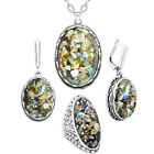 Oval Shell Jewelry Set Vintage Look Necklace Earrings Ring Fashion Jewelry