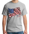 US of America Flag Waving Adult's T-shirt Cool USA Flag Tee for Men - 1667C image