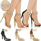 Womens Ladies Perspex Strap Jewel Gem Embellished Stilettos Heels Sandals Size
