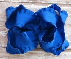 Large Double Layered Satin Double Ruffle Boutique Hair Bow in Royal Blue