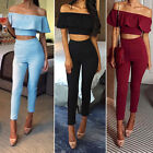 Fashion Women 2 Piece Crop Top Jumpsuit Lady Sleeveless Cut Out Playsuit S-XL TB