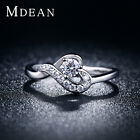 MDEAN New White Gold Color Wedding Heart Fashion Rings Jewelry For Women MSR026
