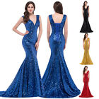 Sequins Bling Mermaid Bridesmaid Prom Wedding Evening Gown Formal Long Dress HOT