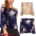 UK Womens Floral Off Shoulder Loose Beach Ladies Casual T Shirt Tops Blouse Top