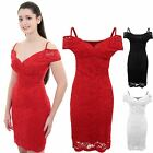 Womens Wrap V Neck Off Shoulder Floral Lace Lined Strappy Bodycon Dress
