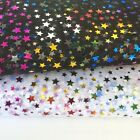 "Poly organza Multi star wizards Foil fabric 60"" wide black or white per metre"
