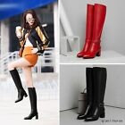 New Women Pointy Toe Metal Buckle Block Heels Sexy Knee High Boots Leather Shoes