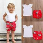 Summer Toddler Kids Baby Girls White Lace Tops Floral Shorts Outfits Set Clothes