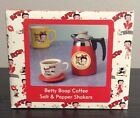 BRAND NEW : VINTAGE BETTY BOOP SALT & PEPPER SHAKERS  COFFE POT & COFFEE CUP $19.95 USD
