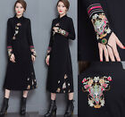 women Ethnic cheongsam embroidery Casual long Beach Cocktail party evening dress