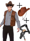 Leather Look Cowboy Waistcoat Sheriff West Fancy Dress Accessory + Hat + Gun