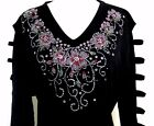 PLUS 3X Hand Embellished Rhinestone Mother's Day Pink Floral Tunic Ladder Top