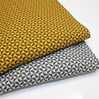 PINWHEELS - COTTON JERSEY FABRIC stretch ELASTANE DRESSMAKING mustard grey