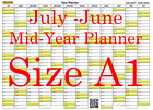 Olive Fade A1 Landscape planner July - June Wall Calendar Choice of Years (1110)