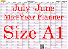Pink Fade A1 Landscape planner July - June Wall Calendar Choice of Years (1114)