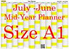 Yellow Fade A1 Landscape planner July -June Wall Calendar Choice of Years (1118)