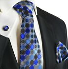 Royal Blue and Charcoal Silk Tie Set