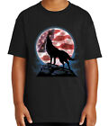 American Wolf Kid's T-shirt USA Flag and Wolf Patriotic Tee for Youth - 1400C