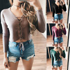 Fashion Women Lace Up Shirt Lady Crop Tops Long Sleeve Knit Sweater 4 Color New