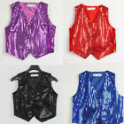 Boys Girls Sequined Vest Waistcoat Dance Party Show Costumes Modern Dance Wear
