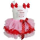 Kirei Sui Pink Red Polka Dots Tutu & Rhinestone 1st Father's Day Dress Outfit