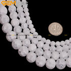 Fashion Faceted Natural Frost Matte White Quartz Beads for Jewelry Making 15""