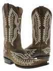Men's Brown Classic Leather Western Ranch Cowboy Boots Riding Pointed Toe